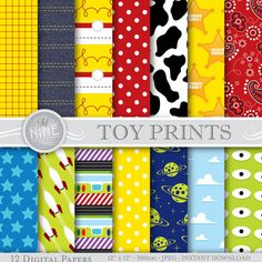 Toy Story Digital Paper: TOY STORY Inspired Pattern Prints, Instant Download…                                                                                                                                                                                 Mais