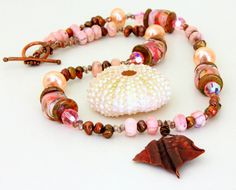 Copper & Lampwork Bead Necklace. Handmade Copper Pendant. Lampwork Bead and Peruvian Opal Necklace. Valentine's Day for Women.. $145.00, via Etsy.