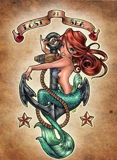 Lil' Mermaid Vs Sailor Jerry by Tim Shumate - Princess Disney Ariel Tattoo Disney Kunst, Art Disney, Disney Pin Up, Disney Films, Mermaid Tattoo Designs, Mermaid Tattoos, Sirene Tattoo, Arielle Tattoo, Maritime Tattoo