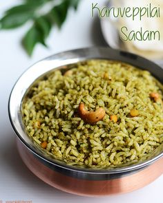 Curry leaves rice recipe with step by step pictures. Healthy and flavorful rice, without any onion or garlic. Perfect for lunch box. Leftover Rice Recipes, Easy Rice Recipes, Veg Recipes, Spicy Recipes, Vegetarian Recipes, Cooking Recipes, Recipies, Healthy Indian Recipes, Biryani Recipe
