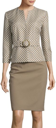 ISABELLA Isabella Long-Sleeve Polka Dot Jacket and Skirt Suit Set