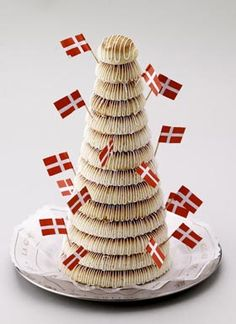 """Kransekage"" Marzipan ring cake, served at New Year's Eve and other festive occasions."