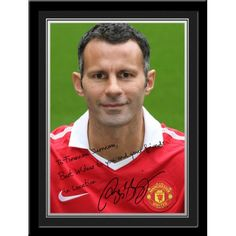 Giggs Signed PhotoPersonalised Ryan Giggs Gift A unique gift displaying Ryan Giggs' photo and a personal message alongside his printed autograph. Presented in a stylish contemporary frame (including mount). Manchester United Gifts, Manchester United Legends, Contemporary Frames, Man United, Gifts For Boys, Polo Ralph Lauren, The Unit, Football, Stylish