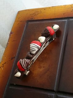 Sweet Hair Barrette With Hearts Chocolates by EvasCreationsShop Strawberry Hair, Chocolate Dipped Strawberries, Red Fruit, Red Glitter, Hair Barrettes, Miniature Food, Whipped Cream, Chocolates, Polymer Clay