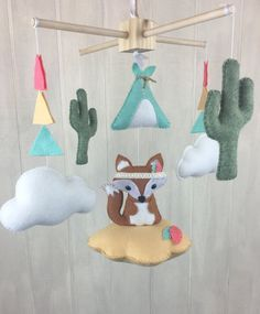 Tribal baby mobile baby mobile clouds by JuniperStreetDesigns