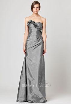 platinum strapless a-line floor length flower asymmetrically pleated evening dress http://pinterest.com/nfordzho/boards/