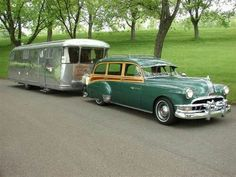 1950 Chevrolet Styleline De Luxe Station Wagon and Airstream trailer Vintage Caravans, Vintage Travel Trailers, Vintage Campers, Vintage Motorhome, Retro Campers, Camper Caravan, Camper Trailers, Diy Camper, Cars Vintage