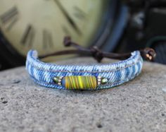 Denim Bracelet with Blue Glass Beads Your Choice от AllintheJeans