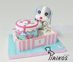Puppy and his box, in a box ! - by Pirikos, Cake Design @ CakesDecor.com - cake decorating website