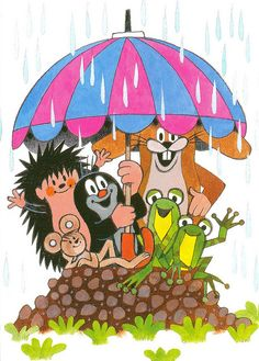'The Mole and the Umbrella' by Zdeněk Miler Children's Book Illustration, Character Illustration, Illustration Children, Sweet Memories, Childhood Memories, La Petite Taupe, The Mole, Walking In The Rain, Disney Cartoons