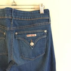 """Hudson 'Beth Baby Boot' Jeans Hudson 'Beth Baby Boot' style jeans in excellent used condition! Only sign of wear is slight fading on back of one leg (near bottom leg opening) on left pant leg (see 4th image). Medium blue color wash with light fading and whisker detail.  Leg opening measures approximately 17"""", inseam is approximately 34"""" long, front rise is approximately 10"""". Made in U.S.A.  [90% cotton/ 6% polyester/ 4% elastan] Hudson Jeans Jeans"""