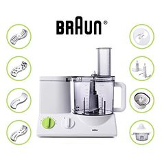 Braun 12 Cup Food Processor Ultra Quiet Powerful Motor, Includes 7  Attachment Blades + Chopper And Citrus Juicer , Made In Europe With German  Engineering ...