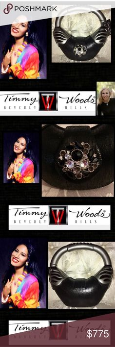 Timmy Woods Beverly Hills🌹DISCONTINUED SELENA 140 🌹VINTAGE DISCONTINUED custom designed tribute bag to Singer Selena on 3/31/95 Timmy Woods original designer of wood hand bags🌹designed from precious wood of the Acacia tree in the Philippines unique eye-catching design for fashionistas🌹Deff arm candy encrusted🌹Swarvoski Crystals,Classic shape artisan handbags take a jaw dropping30 days to design,carve,& execute hand painted,snap magnetic closure,covered Leather;Satin lining,inside zip…