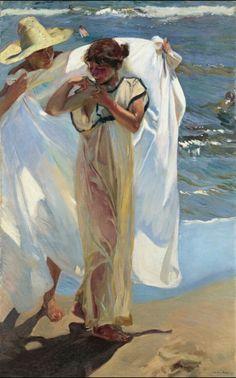 """Joaquín Sorolla """"Despues del baño"""" realizado en 1908. Expuesto en la casa de un millonario."""