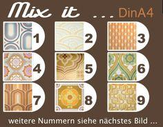 "Wallpaper vintage, Tapete 70er  Kult-Paper ""Mix it"" 10er Set - DinA4 von kultfaden auf DaWanda.com Gestalten mit Tapete DIY Tapete, wallpaper"