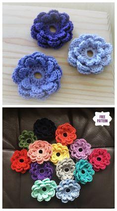 Crochet flowers 426293920978727257 - Easy Crochet Triple Layer Flower Accent Free Crochet Pattern Source by kristelmilo Crochet Puff Flower, Crochet Bows, Crochet Flower Tutorial, Knitted Flowers, Thread Crochet, Crochet Motif, Crochet Designs, Crochet Crafts, Crochet Yarn