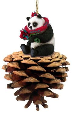 Realistic Hand Painted Cast Resin Giant Panda Bear on a Pinecone Ornament