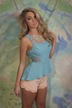 Teal Lace Peplum Top with Peach Scallop Chiffon Shorts