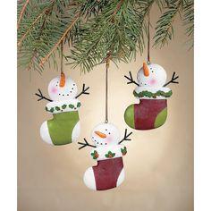 Snowman Stocking Ornaments - TerrysVillage.com   #HolidayWishList #TerrysVillage.com