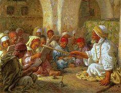 Algérie - Peintre Français    EtienneDinet(1861-1929), Huile sur toile, Titre : L'école Coranique