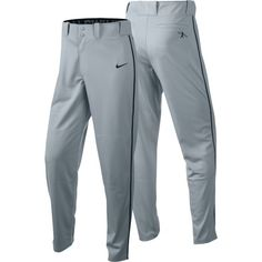 Nike Men's Swingman Dri-FIT Piped Baseball Pants 615280  Adult baseball uniform pants  Dri-FIT moisture-wicking fabric keeps players dry and cool  Wide stretch waistband offers a comfortable fit  Reinforced articulated knees for a natural feel and improved durability  Two metal snap closures with zip fly