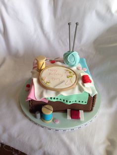 Sewing cross stitch cake