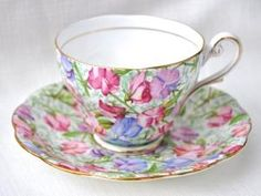 Sweet Pea Chintz China Teacup and Saucer by Royal Standard Bone China. by mavrica