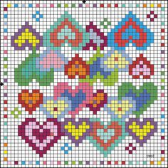Cross-stitch Rainbow Hearts Biscornu  ... no color chart available, just use pattern chart as your color guide.. or choose your own colors...    Gallery.ru / Фото #35 - Игольницы - TIMOSHAVA