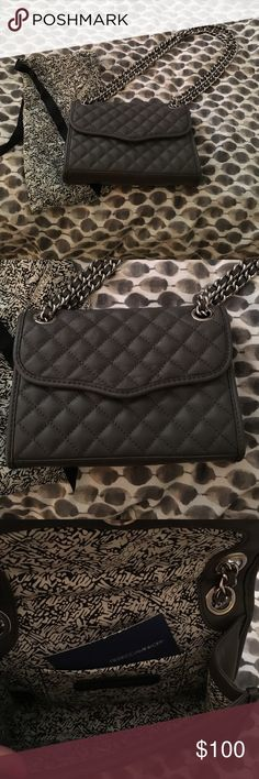 """Rebecca Minkoff Diamond Quilt Mini Affair Bag Rebecca Minkoff Diamond Quilt Mini Affair bag in elephant gray. Quilted front and plain leather bag. Hardware is silver. 8.5"""" X 2"""" X 6"""" with 12"""" and 22"""" strap drop depending on how you wear it. Used only a few times and in great condition condition. Price is negotiable so long as offers are reasonable. Rebecca Minkoff Bags Crossbody Bags"""