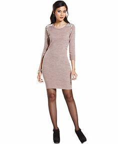 BCX Dress, Three-Quarter-Sleeve Beaded Sweater Dress  Love the wine color on the website