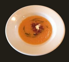 Butternut Squash Soup with creme fraiche, pancetta and infused oil drizzle