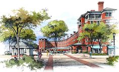 Architectural Rendering - Pen and Watercolor Art Site Analysis Architecture, Architecture Concept Drawings, Watercolor Architecture, Architecture Logo, Baroque Architecture, Architecture Portfolio, Futuristic Architecture, Architecture Details, Landscape Architecture