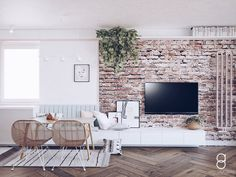 Pastel living room decoration / brick wall/ white interior Brick Wall Tv, Brick Wall Decor, Brick Wall Kitchen, Brick Accent Walls, Accent Walls In Living Room, White Brick Walls, Pastel Living Room, Nordic Living Room, Living Room Modern