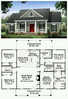 This well-designed plan provides many amenities that you would expect to find in a much larger home. The master suite features a wonderful bathroom with large walk-in closet. This plan also features a flex space which could be used as a fourth bedroom Dream House Plans, Small House Plans, My Dream Home, Dream Homes, One Floor House Plans, Square House Plans, House Plans One Story, Bungalow House Plans