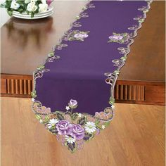 Collections Etc Elegant Embroidered Rose Table Linens, Purple, Runner Cutwork Embroidery, Embroidery Stitches, Embroidery Patterns, Machine Embroidery, Collections Etc, Fabric Painting, Table Linens, Table Runners, Diy And Crafts