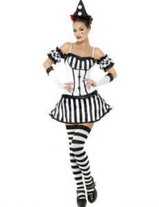 Circus: Black & White Ladies' Clown Outfit (upto plus size)