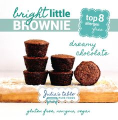 "We wanted to create a ""school safe"" treat that tastes like a real brownie so that everyone can be included and feel special. Our gluten-free, top 8 allergen-free brownies are also great for that upcoming pot luck or social gathering. Safe Schools, Pot Luck, Pureed Food Recipes, Foods With Gluten, Gluten Free Baking, Brownies, Dairy Free, Clean Eating, Treats"