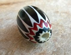 Black & White Chevron Bead,Trade Bead,31 mm Glass Beads,African Trade Beads,Glass Beads,Statement Bead,Bead Supplies,Vintage Trade Beads by RedEarthBeads on Etsy