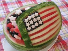 of July Watermelon bowl, recipes, tips, memorial day, fruit salad 4th Of July Watermelon, Watermelon Fruit Salad, Watermelon Carving, Carved Watermelon, Fruit Salads, Watermelon Ideas, Fruit Dishes, Eating Watermelon, Jello Salads