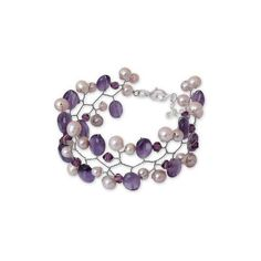 NOVICA Cultured pearl and amethyst beaded bracelet ($26) ❤ liked on Polyvore featuring jewelry, bracelets, amethyst, wristband, amethyst jewellery, beaded bangles, fresh water pearl jewelry, freshwater pearl jewelry and novica