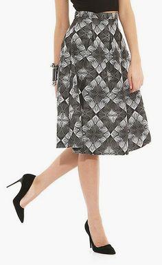 BSL Fashion Black & White Geo A-Line Skirt