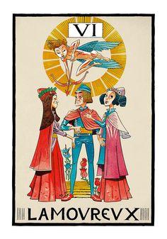 VI. The Lovers - Jamie Hewlitt Tarot by Jamie Hewlitt                                                                                                                                                                                 Mais