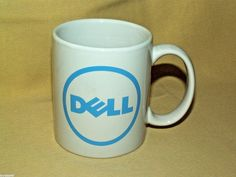 Dell Computer Mug Coffee Tea Cup Cocoa White Blue Circle Logo Unmarked Used #Unbranded