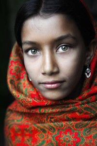 "Bangladesh in Portrait | ""Girl with Green Eyes and Red Headscarf"" - David Lazar"