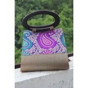 Charcoal Grey with Purple Silk Paisley Work Evening Handbag