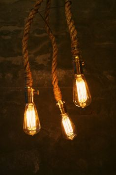 Edison bulbs on rope.