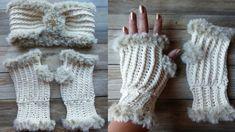 Elegant Faux Fur Fingerless Mittens Crochet Mittens, Fingerless Mittens, Crochet Stitches, Crochet Baby, Knit Crochet, Yarn Bee, Front Post Double Crochet, Headband Pattern, How To Purl Knit
