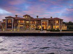 Back view of mega mansion