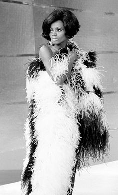 Diana Ross made a strong case for feather boas, sequins, and skin-tight body con dresses in the '60s. // #fashion