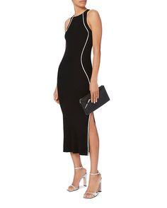 Mugler Black Contrast Line Knit Dress